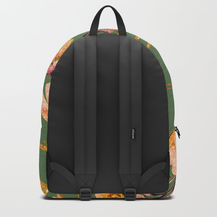glittering pink flowers on green Backpack