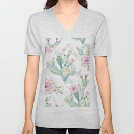 Cactus Chevron Southwestern Watercolor Unisex V-Neck
