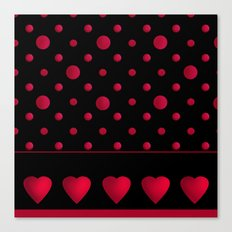 Red polka dots and hearts on a black background . Canvas Print