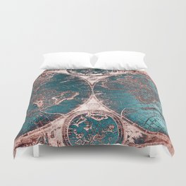 Antique World Map Pink Quartz Teal Blue by Nature Magick Duvet Cover