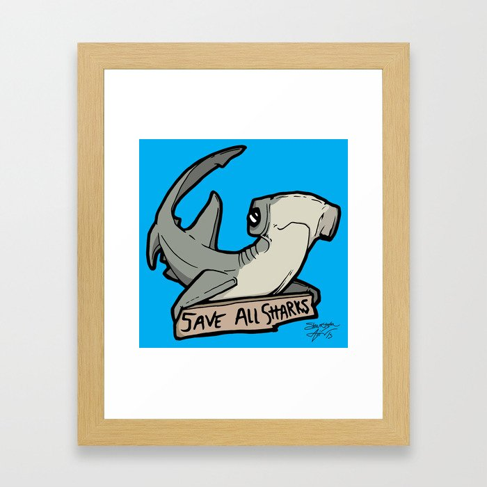 Save All Sharks (says Bonnie!) Framed Art Print