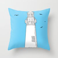 lighthouse Throw Pillows featuring Lighthouse by Janko Illustration