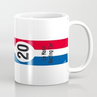 steve mcqueen Mugs featuring Steve McQueen - Le Mans - Racing Car by Vintage Deco Print Posters