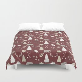 Woodland - Cranberry Duvet Cover