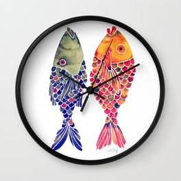 Indonesian Fish Duo – Navy & Coral Palette Wall Clock