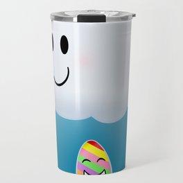 Refracting Rainbow Raindrop by Squibble Design Travel Mug