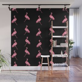 Pink Flamingos on Black Background Pattern Wall Mural
