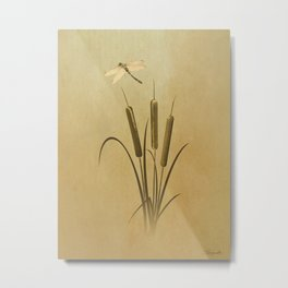 Cattails And Dragonfly Metal Print