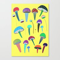 mushrooms Canvas Prints featuring Mushrooms  by Ashley Percival illustration