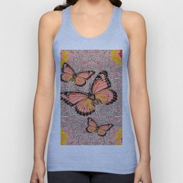 CORAL COLORED MONARCH BUTTERFLIES FANTASY ART Unisex Tank Top
