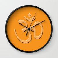 hindu Wall Clocks featuring Hindu om by gbcimages