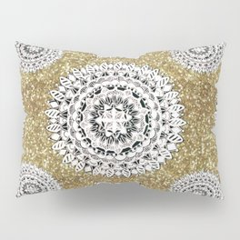 Gold litter and Silver Mandala Patterned Textile Pillow Sham