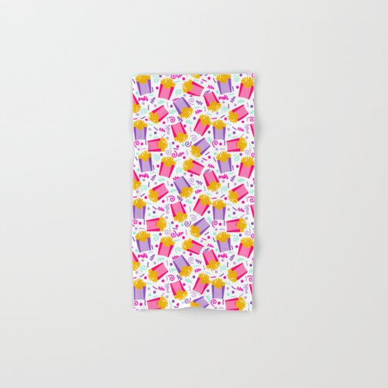 French Fries junk food party time razzle neon bright happy fun kids children pop art pattern foods Hand & Bath Towel