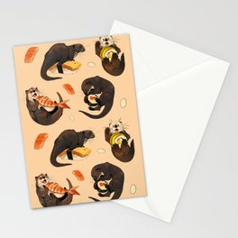 Tiny otters and their sushi Stationery Cards
