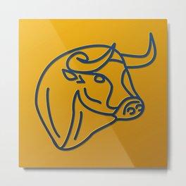 Bull in wireframe Metal Print