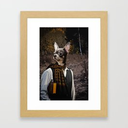 With a book Framed Art Print