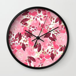 Burgundy Gold Pink Watercolor Roses Flowers Wall Clock