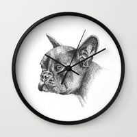 french bulldog Wall Clocks featuring French Bulldog by Squidoodle