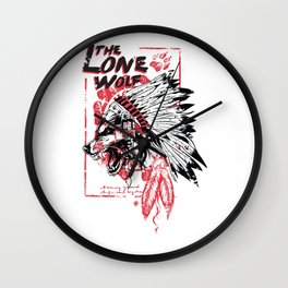 The Lone Wolf - Native American Chief Wall Clock