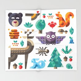 Geometric animals in forest Throw Blanket