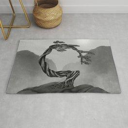 Enso Zen Circle Bonsai Tree - grayscale Rug