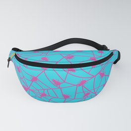 Decorative blue background with pink spider web Fanny Pack