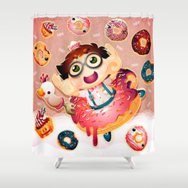 Donuts and Swan Lake Shower Curtain