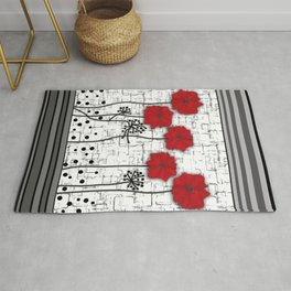 Applique. Poppies on a bright white background . Rug