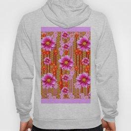 Lilac Purple Dahlia Flowers Orange Abstract Pattern Hoody