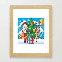 Santa And Reindeer Chirstmas 2020 Framed Art Print