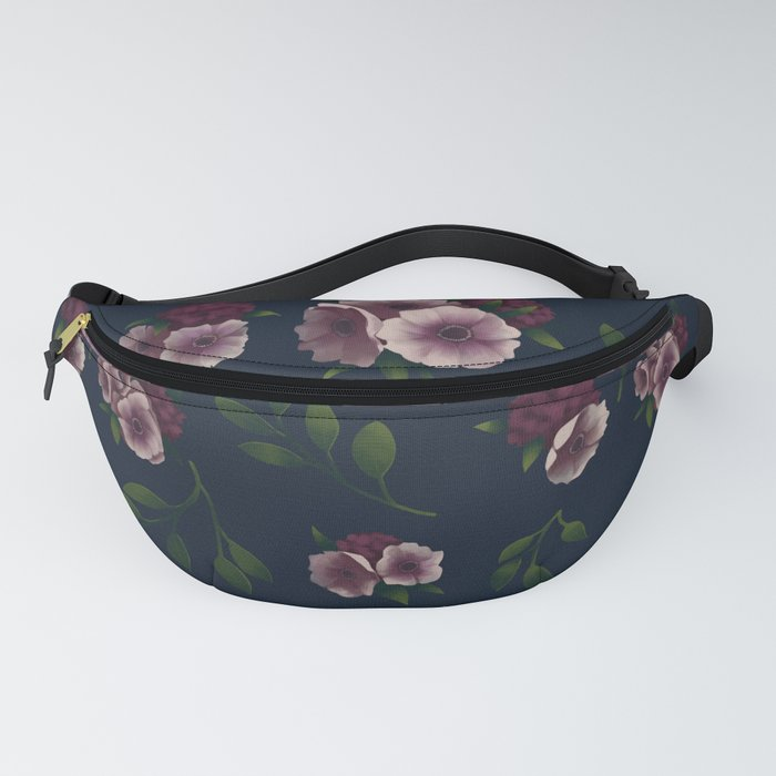 Hydrangea and Anemones Floral Patten Dark Fanny Pack