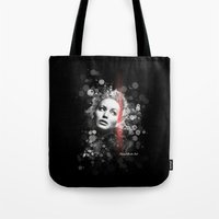 jennifer lawrence Tote Bags featuring Jennifer Lawrence III by Rene Alberto