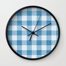 Blue Gingham Denim Country Pattern Wall Clock