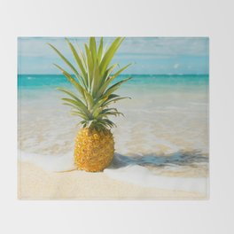 Pineapple Beach Throw Blanket