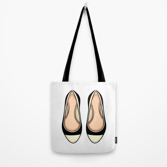 Beige And Black Ballet Flat Shoes Tote Bag