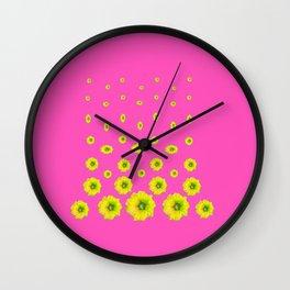 MODERN PINK & YELLOW FLOWERS  DESIGN ART Wall Clock