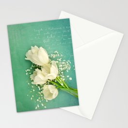 French White Tulips and Baby's Breath Flowers Bouquet Spring Botanical 2015 Stationery Cards