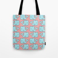 whales Tote Bags featuring Whales by bylosangeles