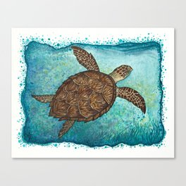 """Hawksbill Sea Turtle"" by Amber Marine ~ Watercolor & Sea Salt Painting, (Copyright 2016) Canvas Print"