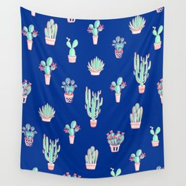 Little cactus pattern - Princess Blue Wall Tapestry