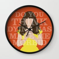 pushing daisies Wall Clocks featuring Pushing Daisies - Chuck by MacGuffin Designs