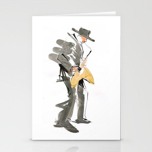 Musician Jazz Saxophone Stationery Cards