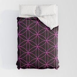 Flower of LIfe Hot Pink & Black Comforters