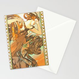 """Alphonse Mucha """"The Moon and the Stars Series: The Evening Star"""" Stationery Cards"""