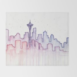 Seattle Skyline Watercolor Throw Blanket
