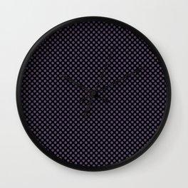 Black and Loganberry Polka Dots Wall Clock