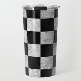 Black and White Checkered Grunge Pattern Travel Mug