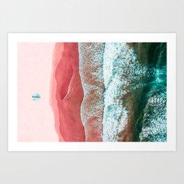 Woman On Algarve Beach In Portugal, Pink Beach, Bondi Beach, Drone Photography, Aerial Beach, Ocean Art Print