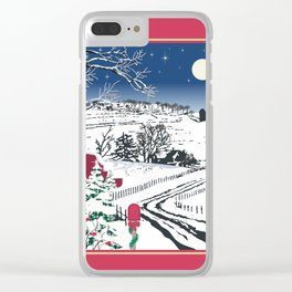 Silent Winter Night Silhouette Clear iPhone Case