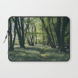 Path through Bluebells growing wild in natural woodland. Wayland Wood, Norfolk, UK. Laptop Sleeve
